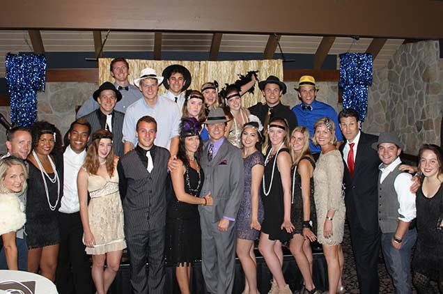 A dance event at the conference center with everyone dressed as 1920 flappers.